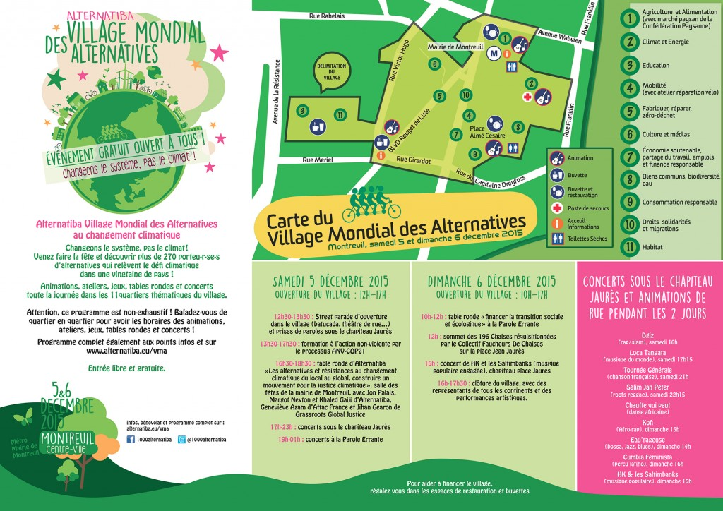Village Mondial des Alternatives programma